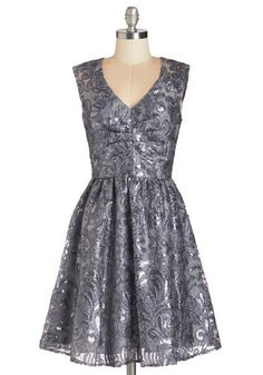 Twinkling at Twilight Dress in Grey - Variation, Silver, Sequins,