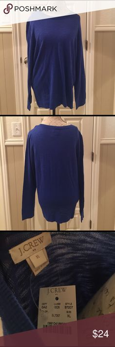 J. Crew Lightweight Sweater Sz XL. New with tags's. Lightweight royal blue cotton sweater. Perfect all season layering piece. This is a bargain. J. Crew Sweaters Crew & Scoop Necks