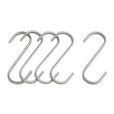 Heavy Duty Stainless steel kitchen utensils / Kitchen Accssories / Cutlery hanging S-Hooks (Size: 7CM) - Pack of 5 CSC http://www.amazon.co.uk/dp/B007QA6HKY/ref=cm_sw_r_pi_dp_ZYjqwb0SSPZ2H