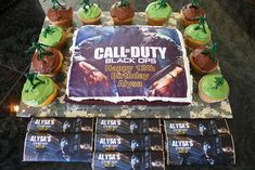 I made this Call of Duty Black OPS 2 cake for my daughter's 12th birthday.  It featured a personalized, edible cake topper.  For the cupcakes, I frosted them with brown and camo green icing and topped with army men.  I love how it came out!