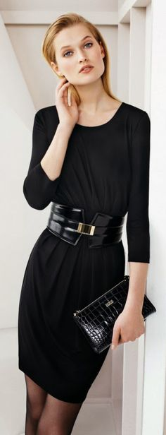 {Fashion} Toni Garrn for Hugo Boss Sept 2013 #fashion #black #widebelt