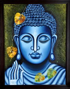 Buy Lord Buddha Painting artwork number a famous painting by an Indian Artist Ramesh Patel. Indian Art Ideas offer contemporary and modern art at reasonable price. Art Buddha, Buddha Kunst, Buddha Artwork, Buddha Drawing, Buddha Canvas, Buddha Zen, Budha Painting, Flower Painting Canvas, Canvas Artwork