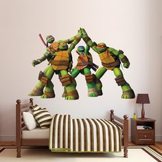 Teenage Mutant Ninja Turtles - High Five Fathead Wall Graphic is perfect for sprucing up any turtle lovers bedroom or playroom.