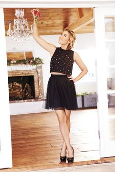 You're mistletoe-ready in a cute crop top and chiffon skirt. LC Lauren Conrad at #Kohls