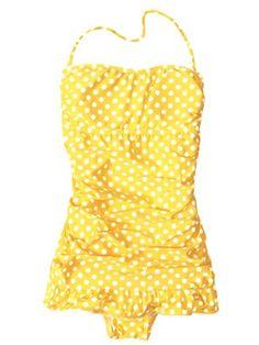 Yellow polka dot one piece:: Pin Up Girl:: Vintage Swimsuit:: Bathing Suits:: Retro Swimwear:: Yellow Polka Dot Summer