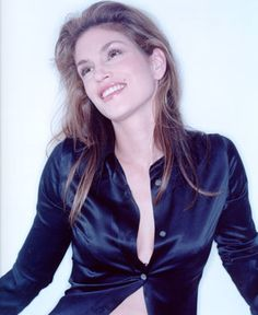 cindy crawford Nissan Titan, Satin Blouses, Cindy Crawford, Celebrity, Leather Jacket, Celebs, Icons, Silk, Lady
