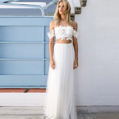Find More Wedding Dresses Information about Romantic Beach 2 Pieces Wedding Dresses For Maternity Pluse Size Lace Bridal Dress Tank Tulle…