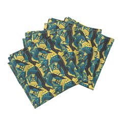 Amarela Dinner Napkins featuring TRICHROMATIC DELIRIUM  TURQUOISE YELLOW by…