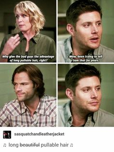 I love Sam's hair Supernatural Bloopers, Supernatural Tumblr, Supernatural Tattoo, Supernatural Imagines, Supernatural Wallpaper, Supernatural Pictures, Destiel, Johnlock, Mary Winchester