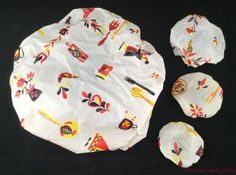 Vtg Lot 4 Matching Elastic Bowl Covers White Red Black Yellow Kitchen Designs FS