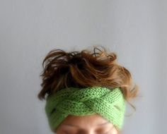 Cable Knitted Headband, Breaded Ear Warmer, Turban Head Wrap, Hand Knit in Green, Winter Accessories