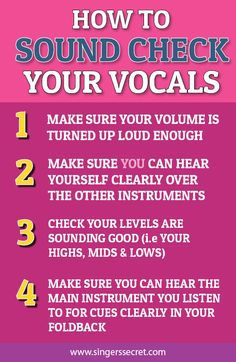 Four quick tips on sound checking your vocals for a performance. www.singerssecret.com #singingtips
