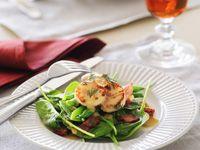 Warm scallop, green bean and bacon salad