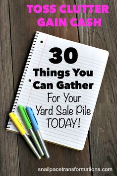 Things You Can Gather For Your Yard Sale Pile TODAY Toss Clutter & Gain Cash! Use this list as a guide to finding every possible item you can resell out of your home and into the pile of items to sell at your next yard sale. PLUS grab a free printable ver Garage Sale Organization, Garage Sale Tips, Garage Sale Pricing, Garage Ideas, Organization Ideas, Yard Sale Signs, For Sale Sign, Rummage Sale, What To Sell