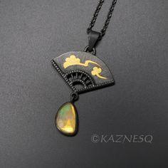 (C) KAZNESQ: Rose cut opal fan motif golden Asian cloud pendant necklace Foot Bracelet, Black Gold Jewelry, Jewelry Art, Opal, Contemporary Art, Jewelery, Finger, Clouds, Necklaces