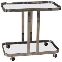Chrome Bar Milo Baughman Bar Cart, Smoke Glass   See more antique and modern Bar Carts at https://www.1stdibs.com/furniture/tables/bar-carts