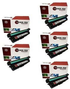 5 Pack Compatible Toner Cartridge Replacements for the HP CE270A, CE271A, CE272A, CE273A. (2 Black, Cyan, Magenta, Yellow)