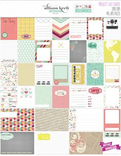 Recorded Project Life Cards Designed by Allison Kreft    Set of 40 digital printable cards (plus 1 extra)  300DPI JPEG files  33 - 3x4 cards