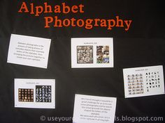 "Nice photography lesson. ""Alphabet Photography""...high school 2D collage assignment?"