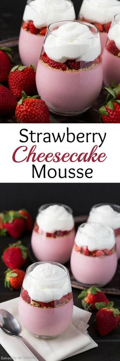 For a beautiful and delicious Mother's Day treat, whip up this easy No-Bake Strawberry Cheesecake Mousse. Fresh strawberries are paired with cream cheese to create a luscious cheesecake filling. The filling sits on a bed of graham cracker crumbs and is topped with more crumbs, diced strawberries, and homemade whipped cream. Enjoy! #mousse #cheesecake #strawberry