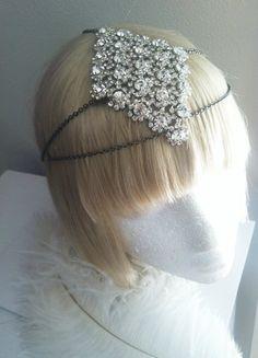 Deco Bohemian Goddess-Diamond Shaped Crystal and Chain Headdress-Hair Jewelry-Art Deco 1920s Headpiece-The Great Gatsby