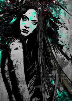 див едно лице от женски пол дама коса племенен взрив абстрактно сюрреалистични цветове черно воин пръски взрив