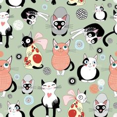 cartoon cat background 01 vector