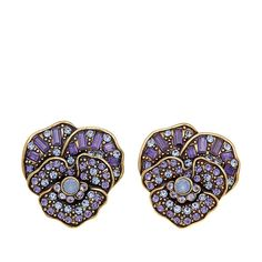"Heidi Daus ""Pleasing Pansy"" Crystal Earrings"