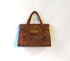 Vintage collectable mexican brown tooled leather boho by evaelena