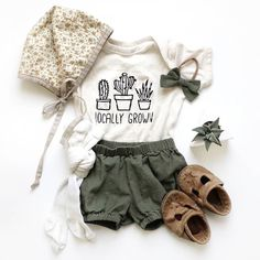 'Locally Grown' Organic Onesie Organic Romper from own cultivation Baby Outfits, Outfits Niños, Kids Outfits, Newborn Outfits, Fashion Outfits, Toddler Outfits, Fashion Clothes, Spring Outfits, Baby Girl Fashion