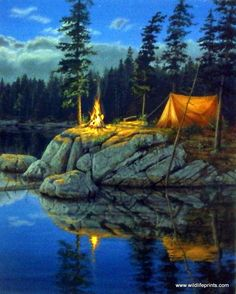 """These campers have found the perfect spot for their tent and campfire at this isolated location on a beautiful lake in Darrell Bush's print SOLITUDE. This open edition print comes in a 8"""" x 10"""" unfram"""