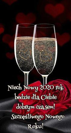 Kartka noworoczna 🥂🥂🥂🥂🥂🥂🥂🥂🥂🥂 Christmas And New Year, Merry Christmas, Happy New Year 2020, New Years Eve, Wine Glass, Tableware, Polish, Bullet, Humor