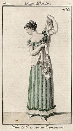 Colourful striped green and white gown 1810 Costume parisien