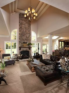 Ceiling puts the 'great' in great room in this home by Barrington Homes.