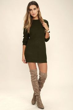0ddd10b04bf Bringing Sexy Back Olive Green Backless Sweater Dress