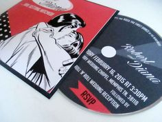 30x 1950's Red & Black Vinyl Record Sleeve Wedding Invitation, 5x5 inch Pocket Invite on Etsy, $129.02