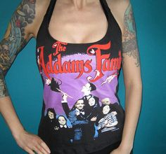 Addams family halter top made from a vintage shirt by madfoxes
