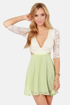 Lovers Lane Light Green and Ivory Lace Dress at LuLus.com!