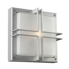 PLC Lighting 1-Light Outdoor Wall Sconce Silver Finish Frost Glass-CLI-HD8026SL at The Home Depot