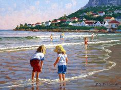 Artwork of Roelof Rossouw exhibited at Robertson Art Gallery. Original art of more than 60 top South African Artists - Since Art Gallery, Beach Painting, Garden Artwork, Beach Artwork, Paris Artwork, African Artists, Bridge Artwork, Beach Art, South African Artists