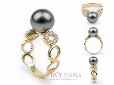 Black Cultured Tahitian Pearl Ring , 10.0mm-11.0mm , AA+, 5001-TBR106 | ShecyPearls Ring