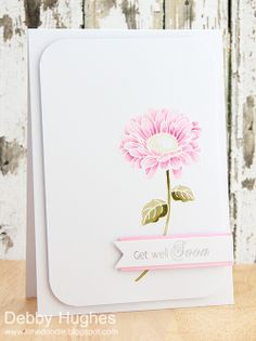 White heat embossed flower card - by Debby at Lime Doodle