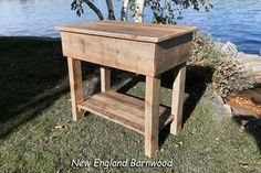 This Attractive Rustic Farmhouse Kitchen Island is constructed of authentic rough cut sawmill pine. Finished with an antique wax to protect and enhance its rustic  appearance. The top and lower shelf of this rustic barnwood kitchen island is finished with a satin topcoat to provide additional protection.  #newenglandbarnwood #kitchenisland #rustichomedecor #farmhouse #kitchenislandwithstorage #farmhousekitchenislanddecor