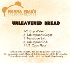 Passover / Feast of Unleavened Bread Recipe: Unleavened Bread 1