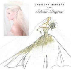 Carolina Herrera Wedding Gown Design for Jessica Simpson, Fabulous Doodles