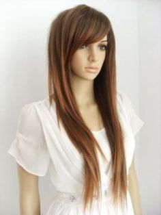 I know it's a wig, but I like the bangs and length of the shortest layers.