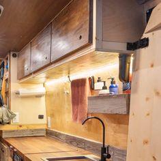 DIY VAN CONVERSION | OVERHEAD STORAGE - CHARLES STEMEN Van Conversion Cabinets, Van Conversion Furniture, Van Conversion Interior, Camper Van Conversion Diy, Van Conversion Lighting, Van Conversion Bed Frame, Self Build Campervan, Build A Camper Van, Rv Cabinets