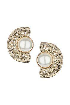 Pearl Filigree Stud Earrings - Jewelry  - Bags & Accessories