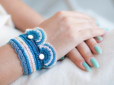 Freeform Crochet Cuff - Flowers - Ivory Blue Navy - Nacre Pearl - Colorful Flowers - Beaded Statement Cuff - Boho Chic Style - Ottoman Tile