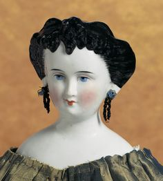 Lady Dolls of the Century Old Dolls, Antique Dolls, Pale Blue Eyes, Finger Curls, Feather Brows, Black Lace Gown, Blush On Cheeks, China Dolls, Black Eyeliner